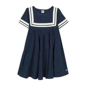 Petit Bateau Child Sailor Dress With Striped Yoke And Sleeves Navy Blue