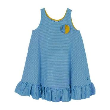 Petit Bateau Child Tank Dress With Flower Detail Blue And White Stripes