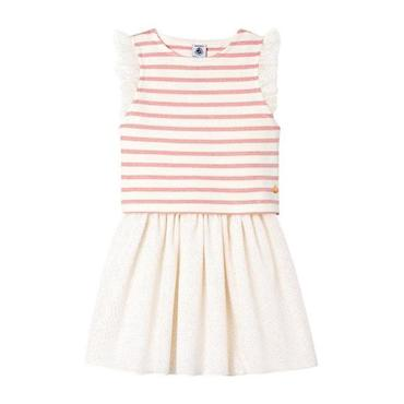 Petit Bateau Child Sleeveless Dress With Removable T-shirt White With Pink Stripes