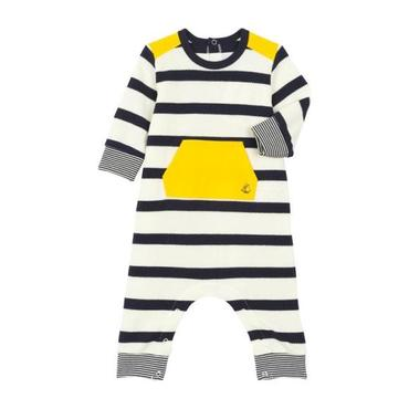 Petit Bateau Baby Jumpsuit With Yellow Pocket And Shoulder Patches White And Navy Blue Stripes