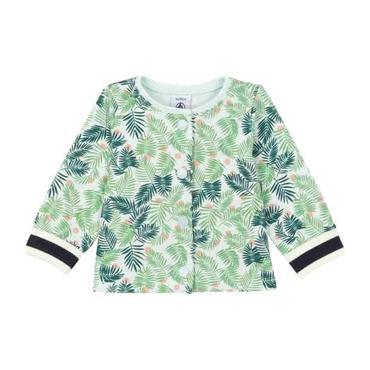 Petit Bateau Baby Cardigan White With Green Leaf Print