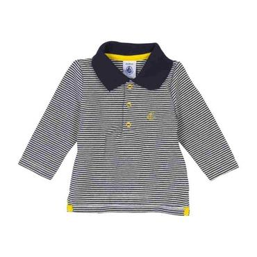 Petit Bateau Baby Long Sleeved Polo Shirt With Yellow Details Navy Blue And White Stripes