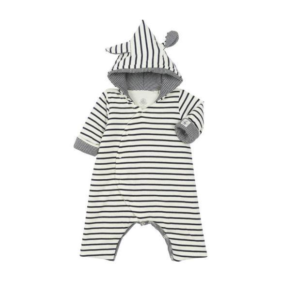 Petit Bateau Baby Padded Jumpsuit With Hood And Ears Navy Blue And White Stripes