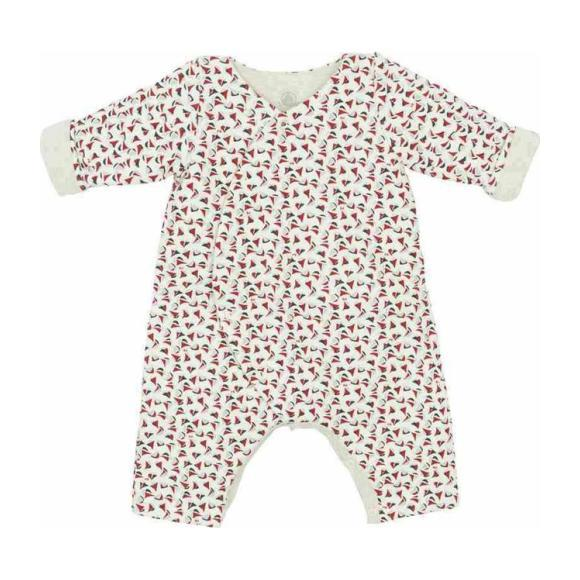 Petit Bateau Baby Padded Jumpsuit White With Small Red And Navy Blue Sailboats