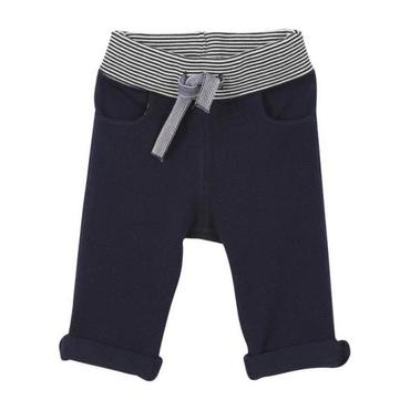 Petit Bateau Baby Piqué Pants With Striped Waistband Navy Blue