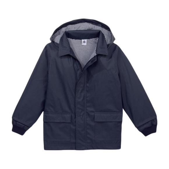 Petit Bateau Baby Raincoat With Knitted Cuffs Navy Blue