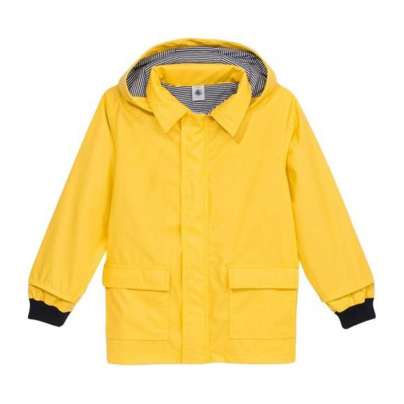 Petit Bateau Baby Raincoat With Knitted Navy Blue Cuffs Yellow