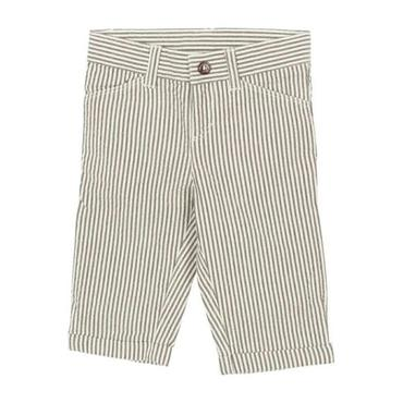 Petit Bateau Baby Seersucker Pants Red Brown And White Stripes