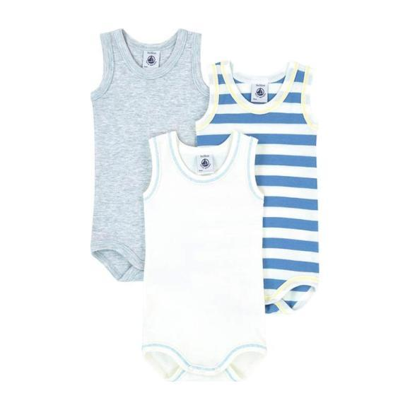 Petit Bateau Baby Set Of Three Sleeveless Bodysuits White, Blue And Grey
