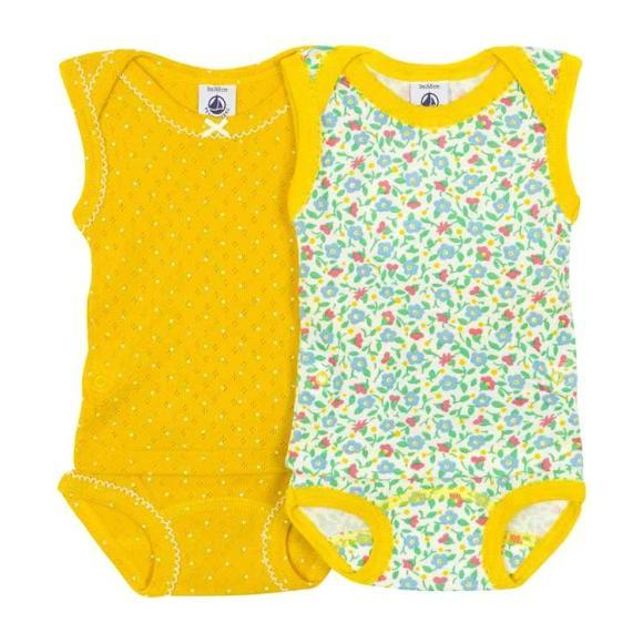 Petit Bateau Baby Set Of Two Bodysuits With Detachable Top And Bottom Yellow And Floral Print