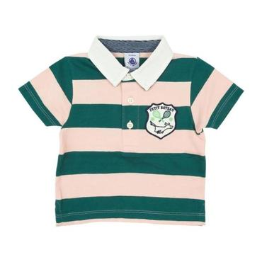 Petit Bateau Baby Short Sleeved Polo Shirt Pink And Pine Green Stripes