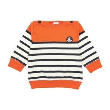 Petit Bateau Baby Sweatshirt With Orange Trim Navy Blue And White Stripes