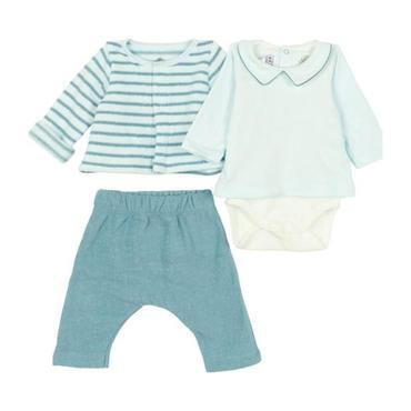Petit Bateau Baby Three Piece Set Bodysuit With Terrycloth Cardigan And Leggings Light Blue Stripes