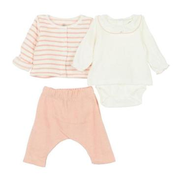 Petit Bateau Baby Three Piece Set Bodysuit With Terrycloth Cardigan And Leggings Pink Stripes