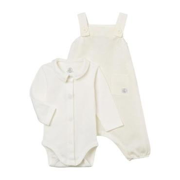 Petit Bateau Baby Two Piece Set Long Sleeved Bodysuit And Linen Overalls White