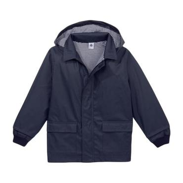 Petit Bateau Child Raincoat With Knitted Cuffs Navy Blue