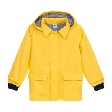 Petit Bateau Child Raincoat With Knitted Navy Blue Cuffs Yellow