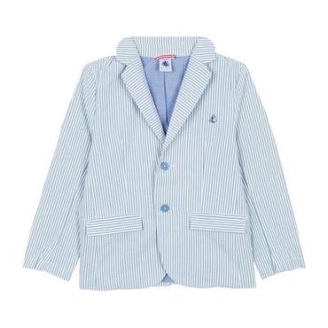 Petit Bateau Child Seersucker Jacket Blue And White Stripes