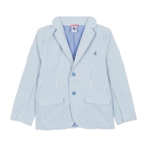 Petit Bateau Child Seersucker Jacket Blue And White Stripes