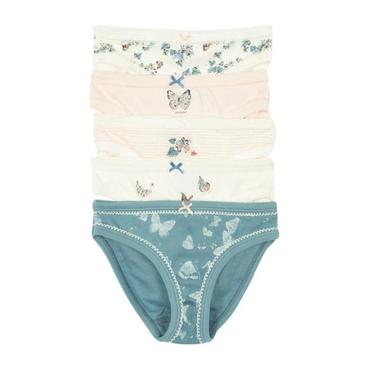 Petit Bateau Child Set Of Five Girls Underwear With Butterfly Print Pink And Blue