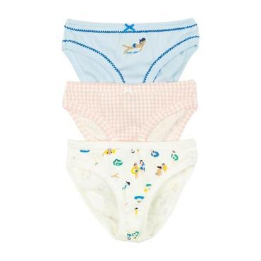 Petit Bateau Child Set Of Three Girls Underwear White, Pink And Blue With Swim Print