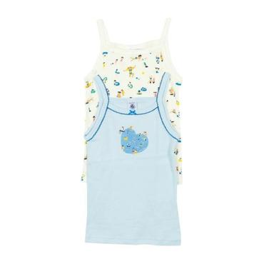Petit Bateau Child Set Of Two Tank Tops White And Blue With Swim Print