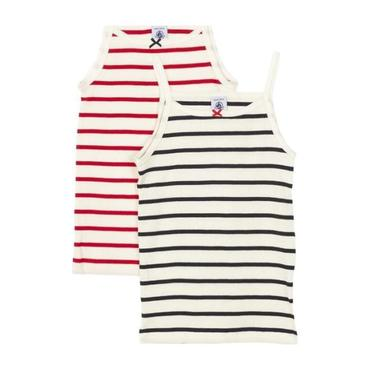 Petit Bateau Child Set Of Two Tank Tops White With Navy Blue And Red Stripes