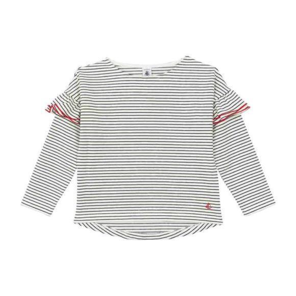 Petit Bateau Child Sweatshirt With Ruffles White With Navy Blue Stripes