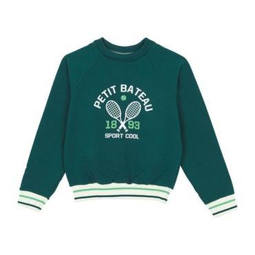 Petit Bateau Child Sweatshirt With Tennis Print Pine Green