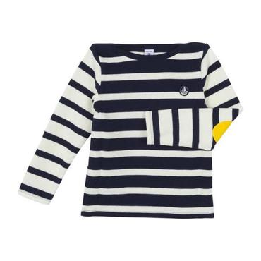 Petit Bateau Child Sweatshirt With Yellow Elbow Patches Navy Blue And White Stripes