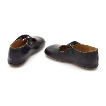 Scalloped Frances Flat, Black