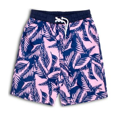 Youth Boys Navy and Pink Palm Reader Swim Shorts