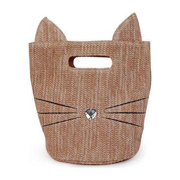 Kitty Mini Straw Bag