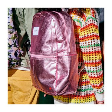 Metallic Kane Backpack, Pink and Silver