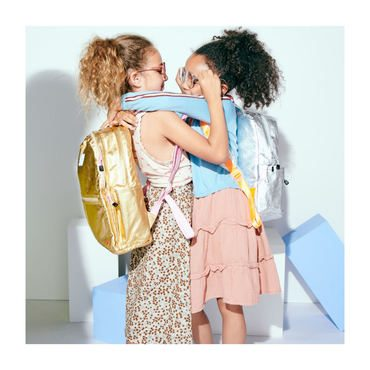 Metallic Kent Backpack, Gold and Pink