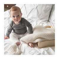 Organic Cotton Comfy Knit Baby Blanket, Soft White