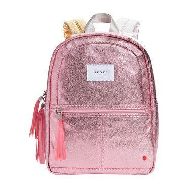 Metallic Mini Kane Backpack, Pink and Silver