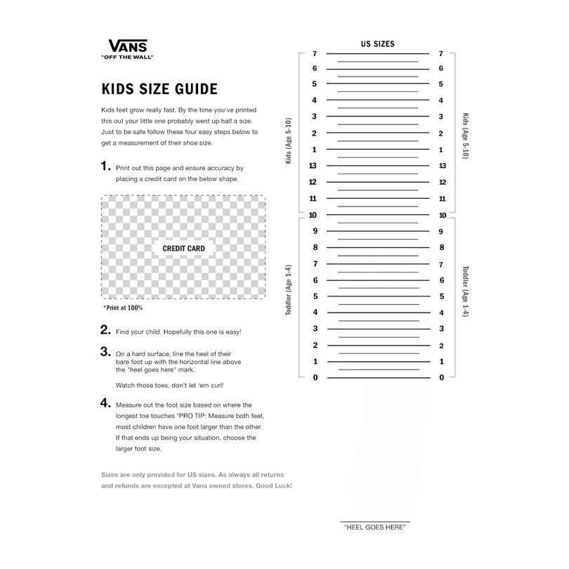 vans boys size chart