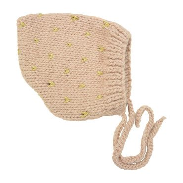 Fair Isle Bonnet, Pink and Gold