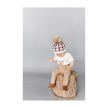 Isla Windowpane Hat, Cream and Pomegranate
