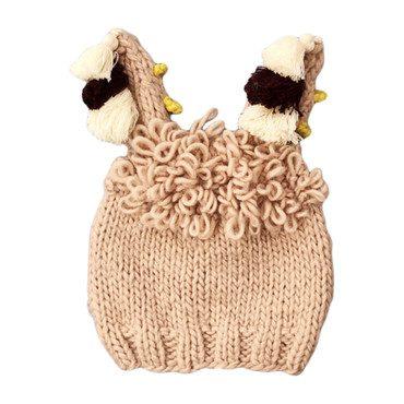 Llama Hat with Tassels, Pink