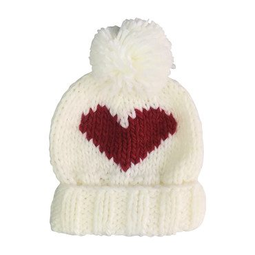 Red Heart Beanie, Cream and Red