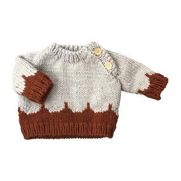 Scallop Sweater, Gray and Cinnamon