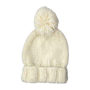 Single Pom Hat, Cream