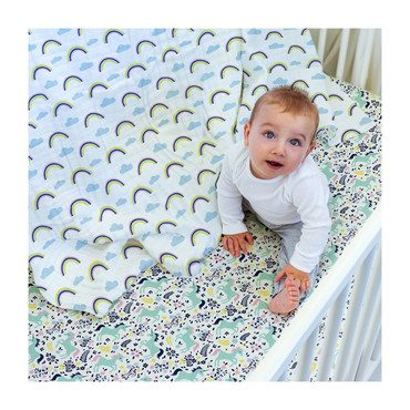 Muslin Crib Sheet, Unicorn