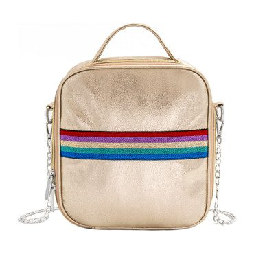 Rainbow Stripe Lunch Bag, Gold