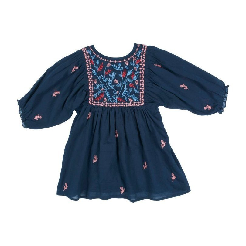 Ava Bella Dress, Blues & Embroidery