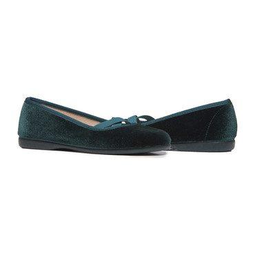 Criss-Cross Ballet Flats, Dark Green Velvet
