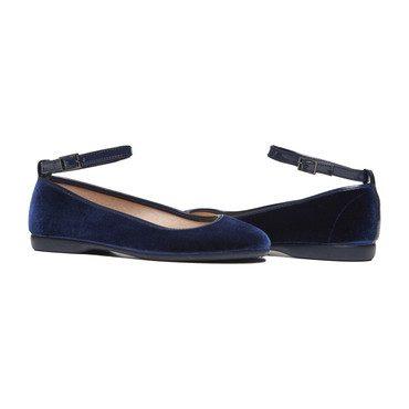 Ankle Strap Ballet Flats, Navy Velvet