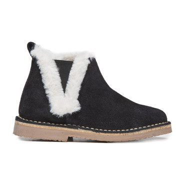 Furry Ankle Boots, Black and White